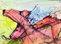 Исмаилов З.Д. «Кони» (серия «Смена поколений»). Смешанная техника, 20х42, 2008 год