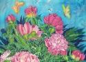 Львовская А.А. «Пионы и бабочки». Холодный батик, 80х60, 2008 год